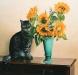 Stillleben mit Kater Mäxgen und Sonnenblumen